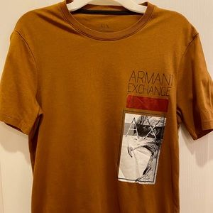 Copper colored Armani Exchange graphic t shirt